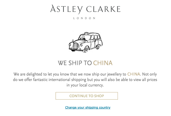 Astley Clarke shipping to China