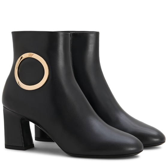 Chunky Trompette Round Buckle Ankle Boots in Leather
