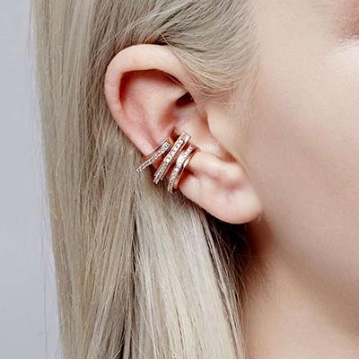 Astrid&Miyu Fitzgerald Circle Ear Cuff in Rose Gold