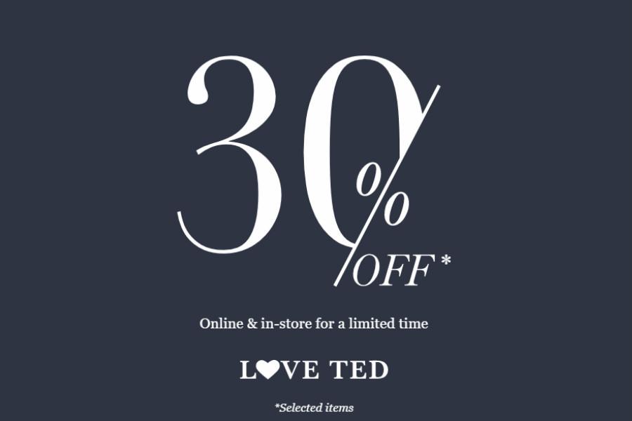英国本土高端品牌Ted Baker,男女精挑款都有30%OFF!