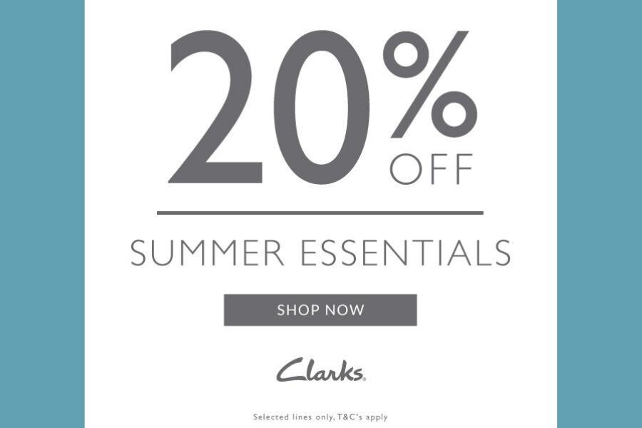 Clarks夏季鞋子20%OFF!男女都有多款可挑