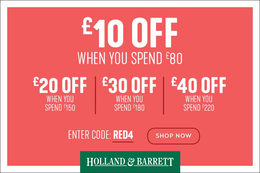 Holland & Barrett独家满减最多减£40!还可叠加半价活动最后一天咯!