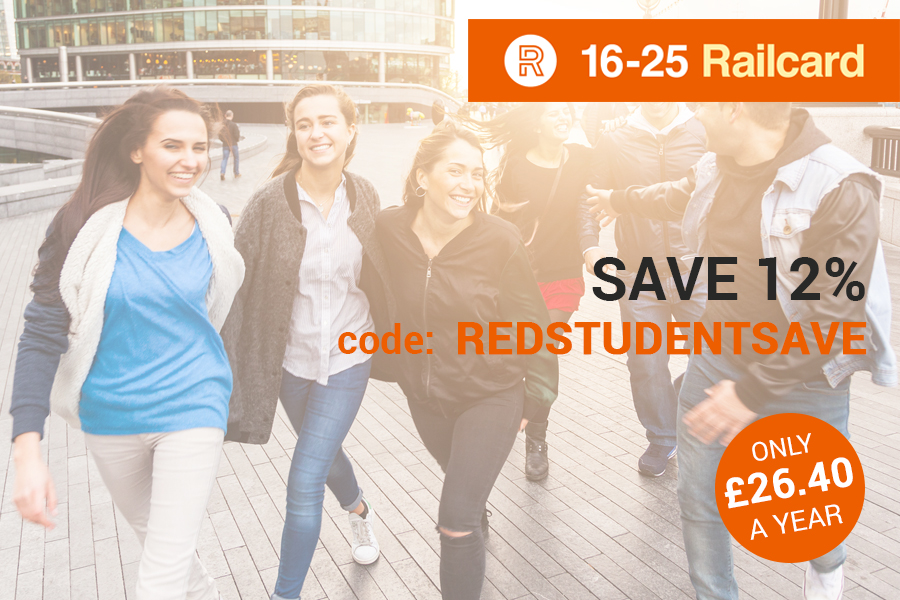 16-25 Railcard青年铁路卡,红领巾独家折扣12%OFF!火车票、地铁票优惠买!