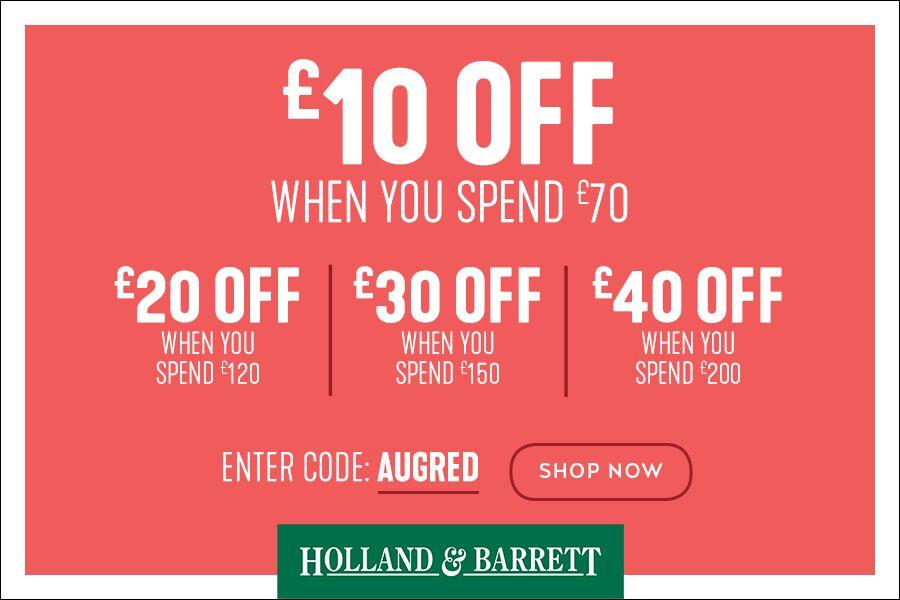 Holland&Barrett独家满减最多可省£40,本周日结束!还能叠加半价优惠!