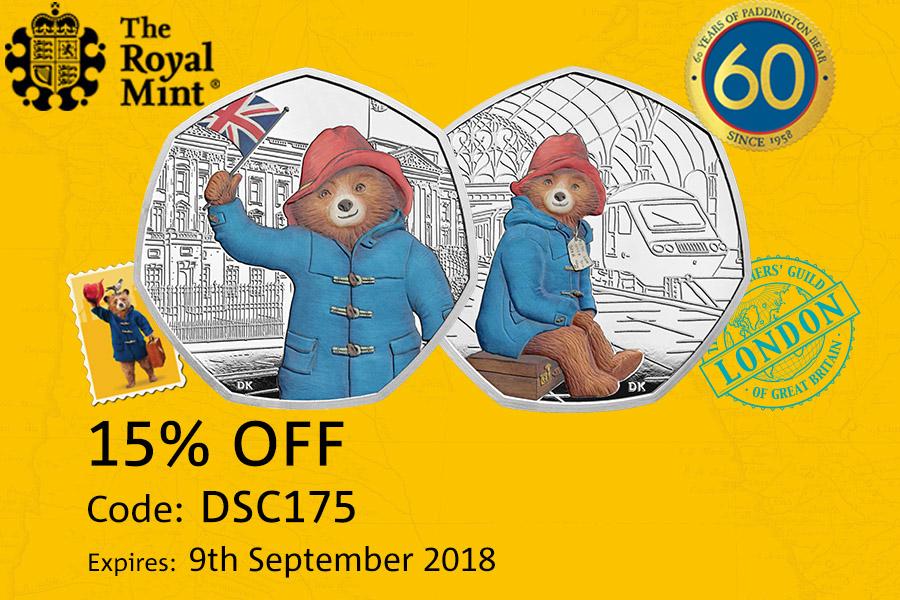 The Royal Mint英国皇家铸币厂限时优惠,帕丁顿熊限量纪念币15%OFF!