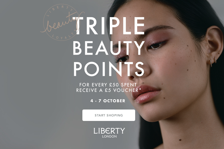 Liberty美妆护肤产品会员3倍积分!相当于购物金额10%的现金券哦!