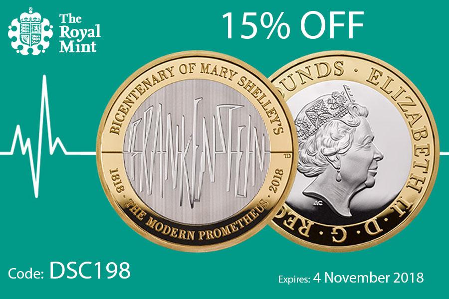 The Royal Mint英国皇家铸币厂限时优惠,著名小说《科学怪人:弗兰肯斯坦》限量纪念币15%OFF!