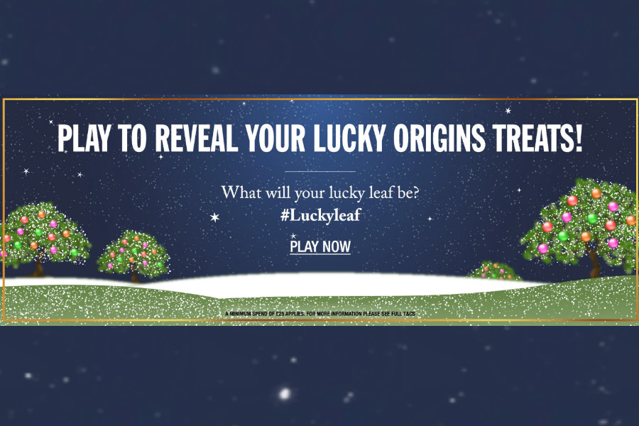 Origins悦木之源小游戏开始,最棒抽到全场20%OFF!