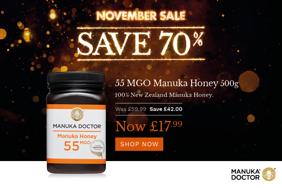 Manuka Doctor双十一养胃蜂蜜马努卡500g大罐装70%OFF,只要£15.99!
