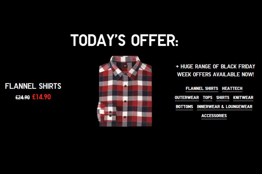 Uniqlo优衣库黑五优惠,一天一折扣!今日份:超多款法兰绒衬衫£14.90!