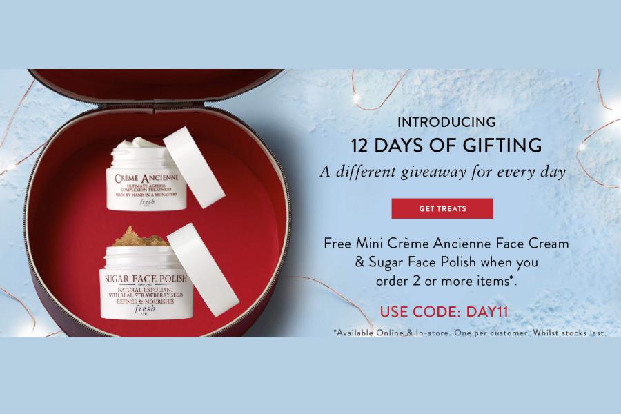 Fresh馥蕾诗圣诞促销第11天,买2就送mini古源修护滋养面霜+澄糖亮颜磨砂面膜!