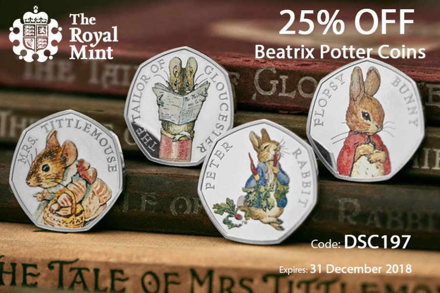 The Royal Mint英国皇家铸币局,彼得兔系列纪念币25%OFF!