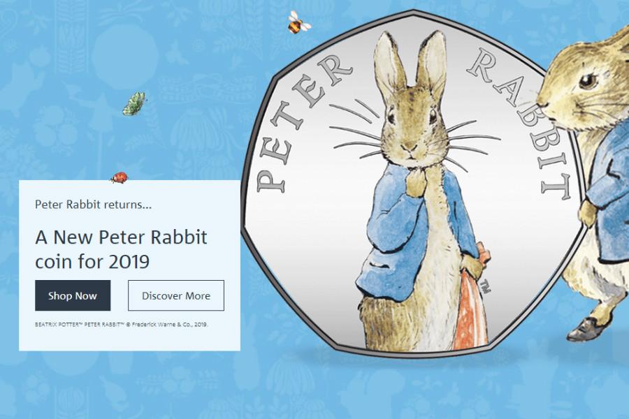 彼得兔50p纪念币发售了!可爱爆炸!