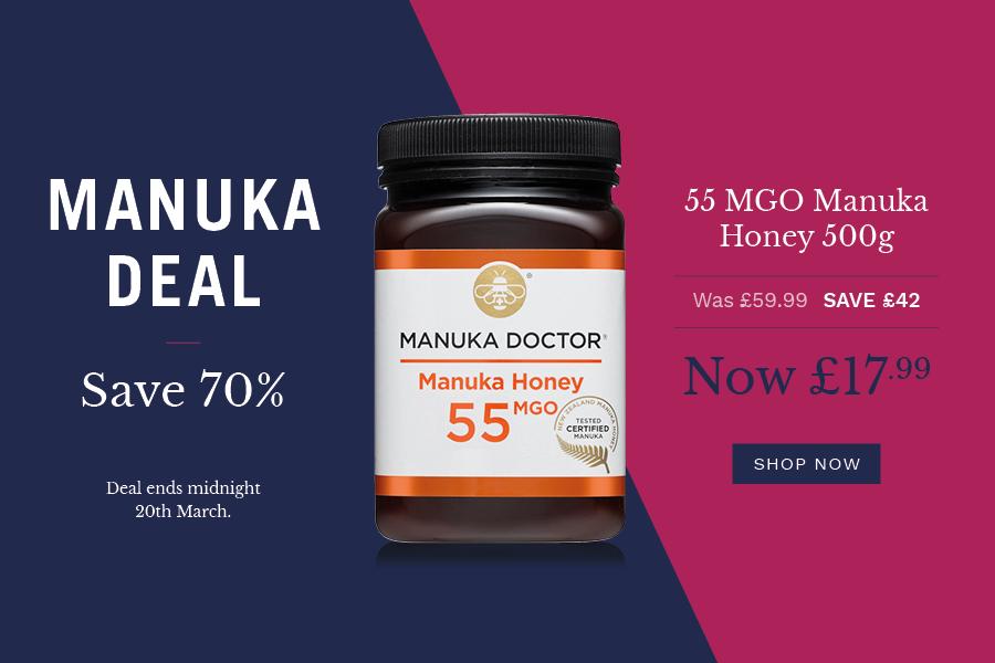 Manuka Doctor | 麦卢卡蜂蜜闪销,55 MGO蜂蜜70%OFF!