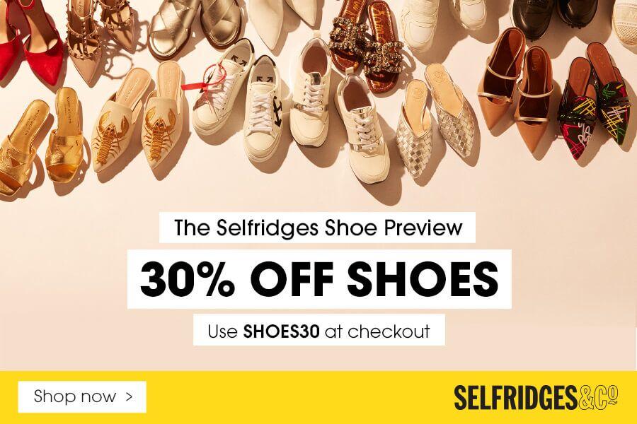 Selfridges | 大牌鞋履私密折扣30%OFF!华伦天奴、麦昆小白鞋等热门鞋款任你挑!