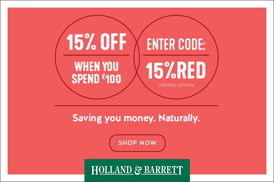 Holland & Barrett | 独家满100镑享受15%OFF折扣优惠!可叠加现有折扣!