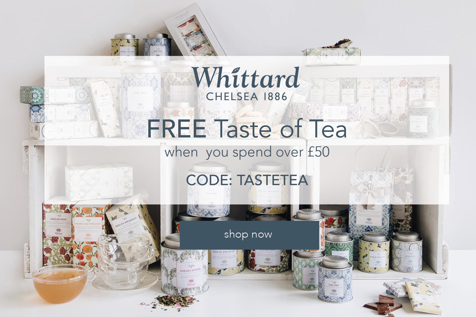 Whittard of Chelsea | 消费满50镑就送价值18镑的Taste of Tea茶包套装!