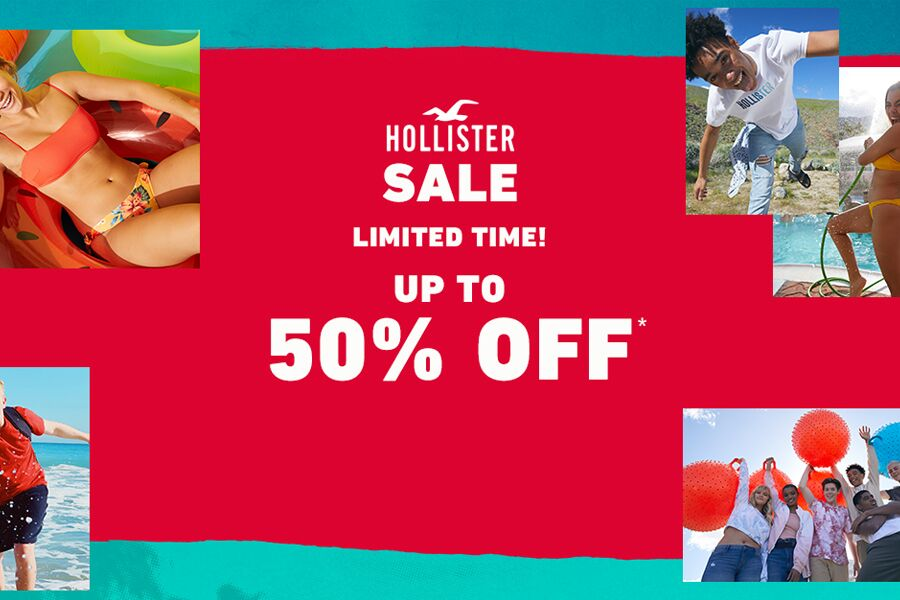 Hollister | 海鸥夏季折扣高达50%OFF+额外20%OFF,男女都有!