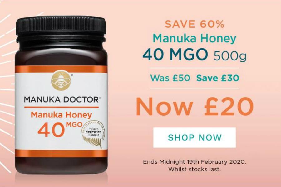 Manuka Doctor   原价£50的40MGO麦卢卡蜂蜜限时仅£20就能入手!