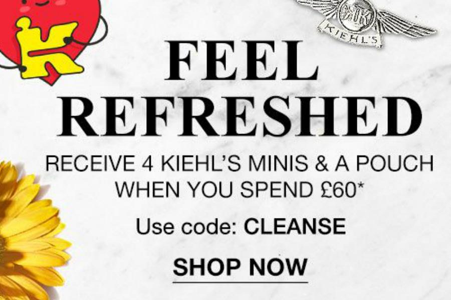 Kiehl's | 满£60送豪华5件套,收新款安瓶、蓝精灵、高保湿霜等