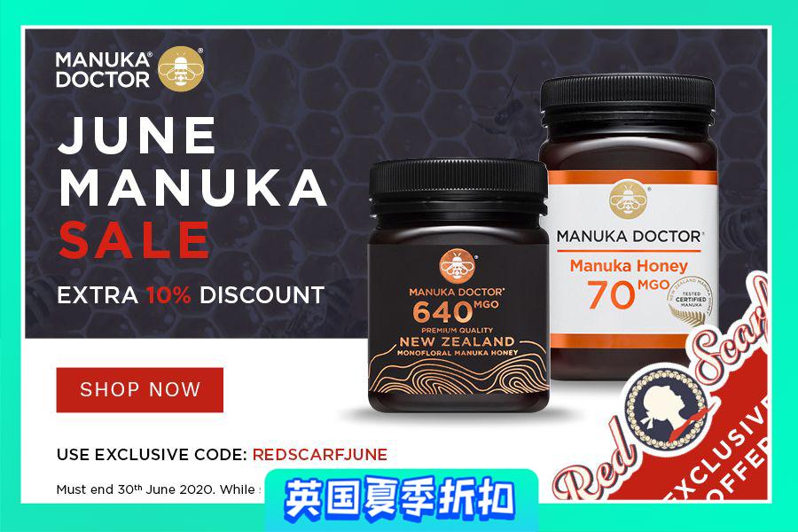 Manuka Doctor | 独家叠9折!高端黑罐蜂蜜、蜂蜜面油、养颜苹果醋等等入手!