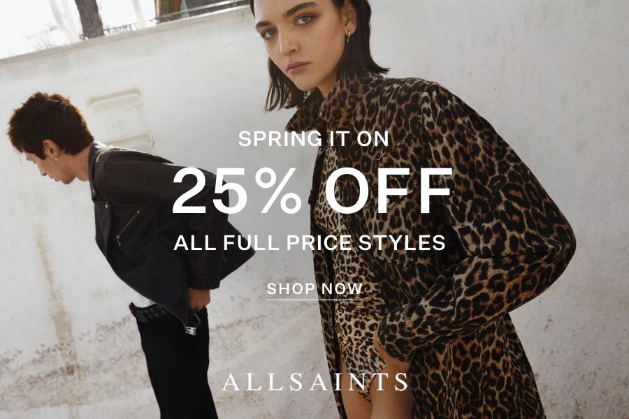 AllSaints春季实穿外套75折!收酷飒风牛仔外套、风衣、皮衣等