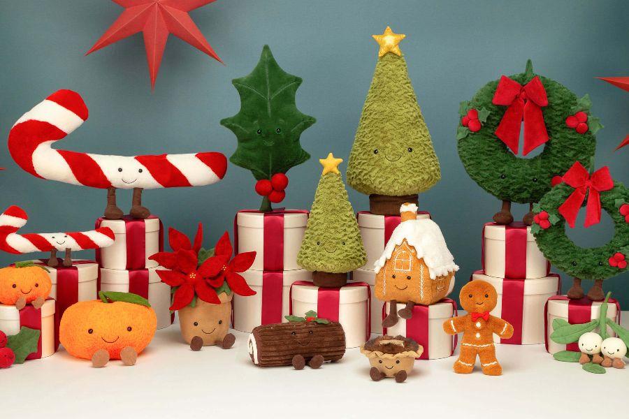 Jellycat圣诞新品这里上新!圣诞姜饼小人儿、雪人、树、花环等快来收